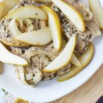 Easy Crockpot Pork Chops with Pears on white plate