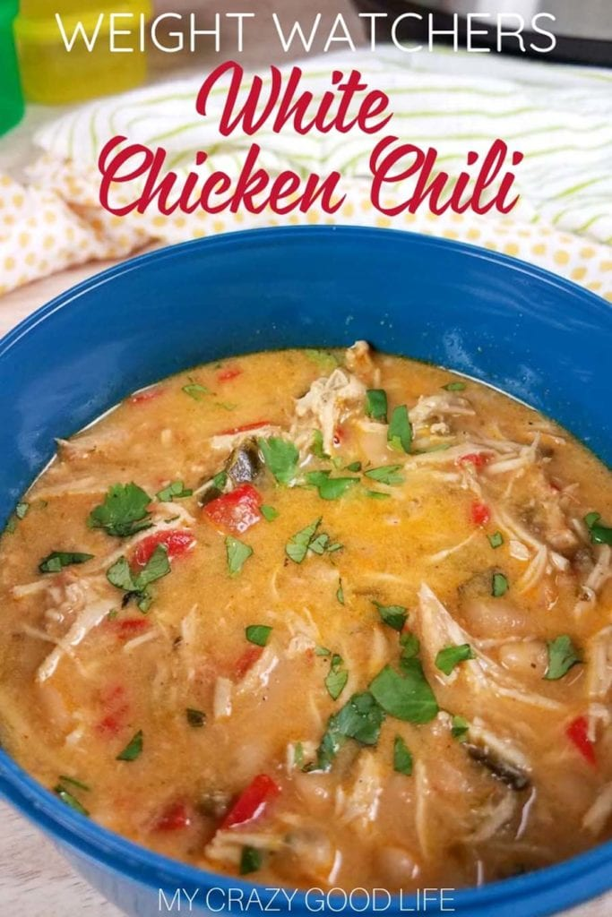 Healthy and Creamy White Chicken Chili with Greek Yogurt can be made in the crockpot, Instant Pot, or on the stove! Weight Watchers Chili Recipe | WW Dinner Recipe | WW Chili Recipe | Weight Watchers Freestyle Points | Healthy Chili Recipe #weightwatchers #WW