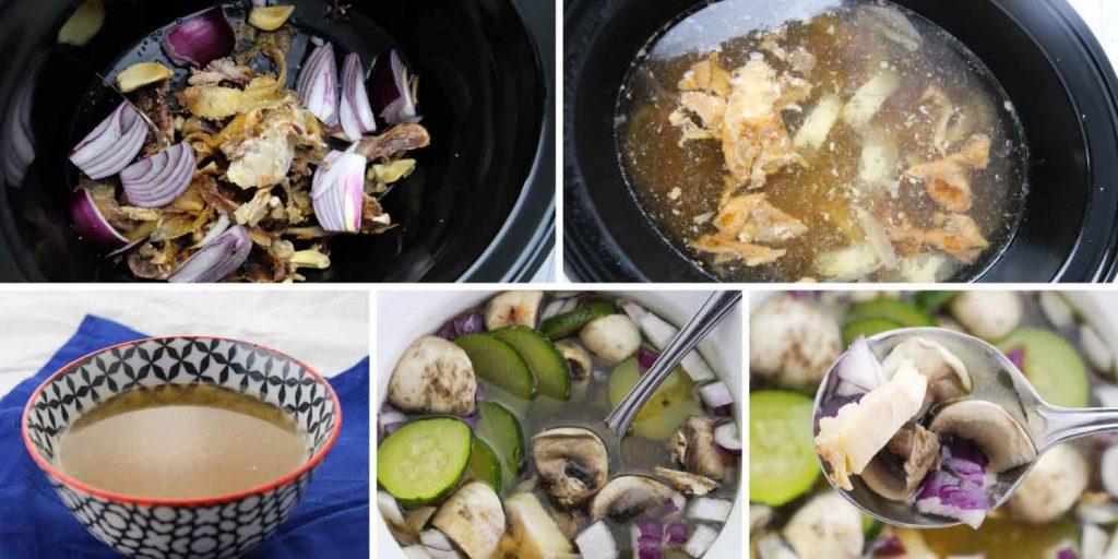 Healthy Chicken Bone Broth Soup collage