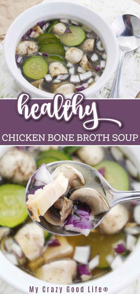 chicken bone broth soup pin image