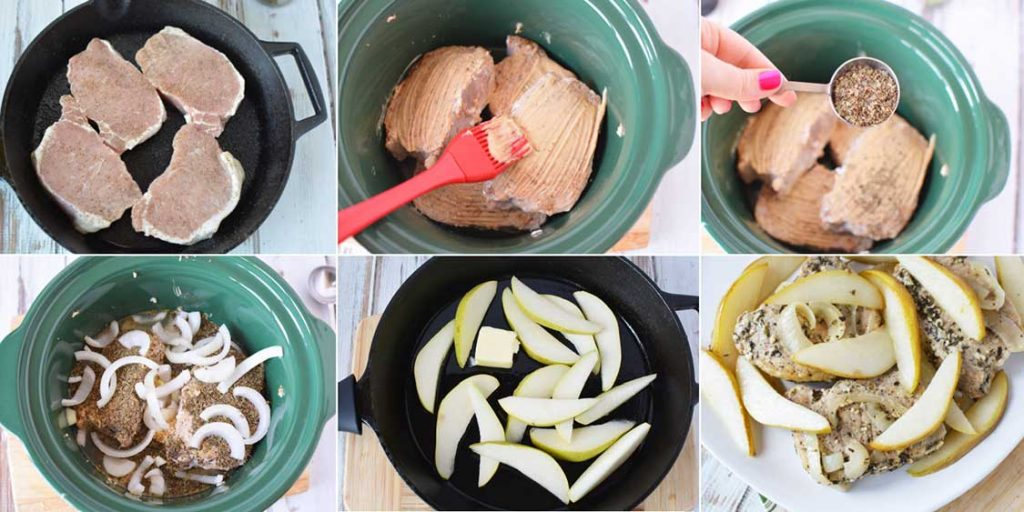Easy Crockpot Pork Chops with Pears collage