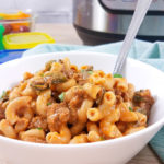 This spicy hamburger helper with green chilies is homemade and delicious! Just as easy as the boxed stuff, but healthier and tastes better! This Cheesy Mac is a great one pot dinner that you can make as spicy as you like.