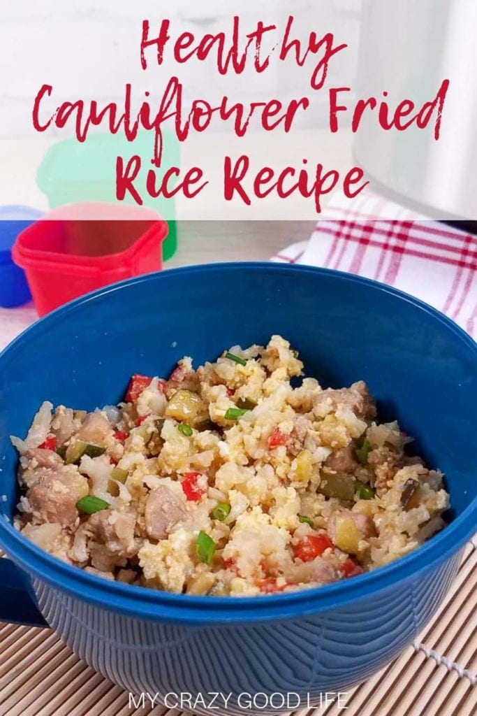 Healthy low carb cauliflower fried rice in a blue bowl with red title at the top.
