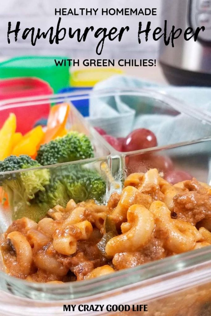This homemade hamburger helper with green chilies is spicy and delicious! Just as easy as the boxed stuff, but healthier and tastes better! This Cheesy Mac is a great family friendly meal that you can make as spicy as you like.