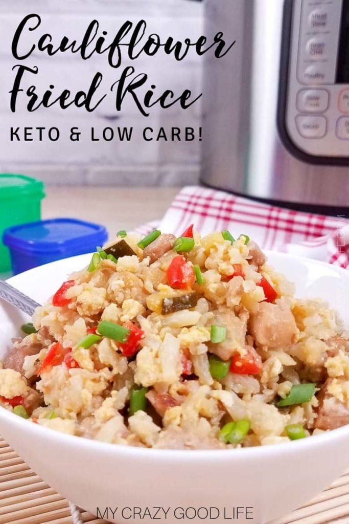 Close up of cauliflower fried rice recipe with Instant Pot and red checked towel in background. Title with note about KETO and low carb options in the top lefthand corner.