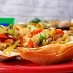 Healthy Egg Roll Wonton Cups on a red plate