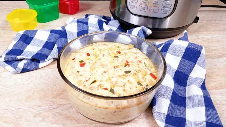 turkey chorizo breakfast casserole on a table in a clear bowl