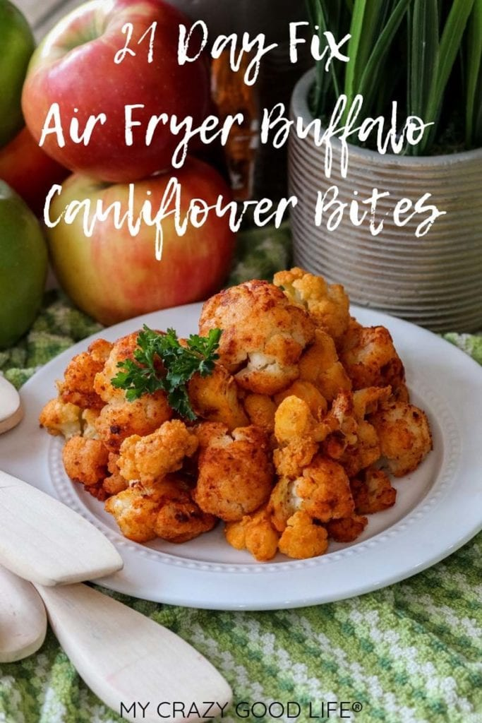 These healthy Air Fryer Buffalo Cauliflower Bites are easy to make and so delicious–they can be served as a healthy appetizer or a low carb side dish, but I promise they're not going to last long. I had cauliflower haters LOVING this low carb snack! I make these with frozen cauliflower and hot sauce. #airfryer #21dayfix #healthy #weightwatchers