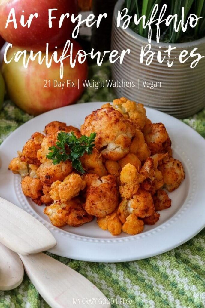 Finished air fryer buffalo cauliflower bites with title at the top.