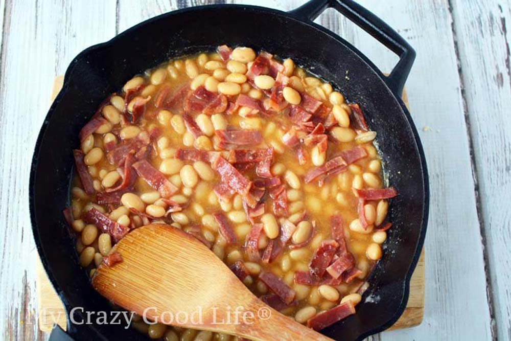 healthy pork and beans simmering on the stove