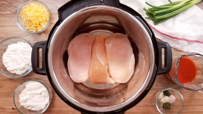 chicken lying flat in the instant pot