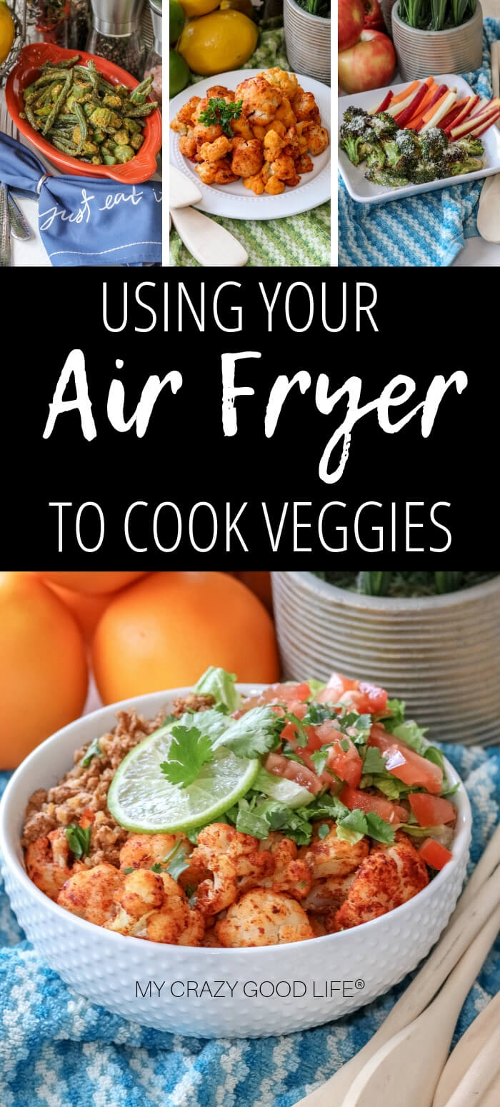 image with text of vegetables cooked in air fryer