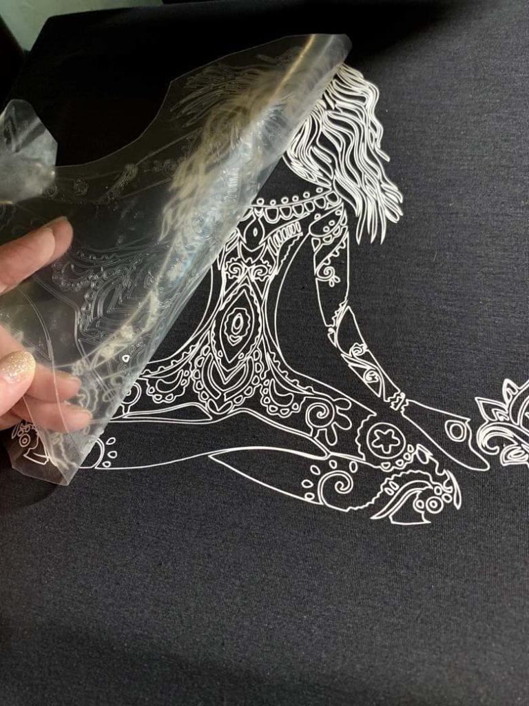 pressing cricut pattern on black shirt