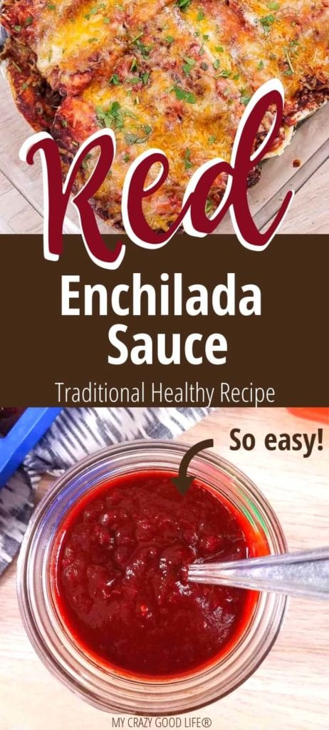 image with text–red enchilada sauce in clear mason jar