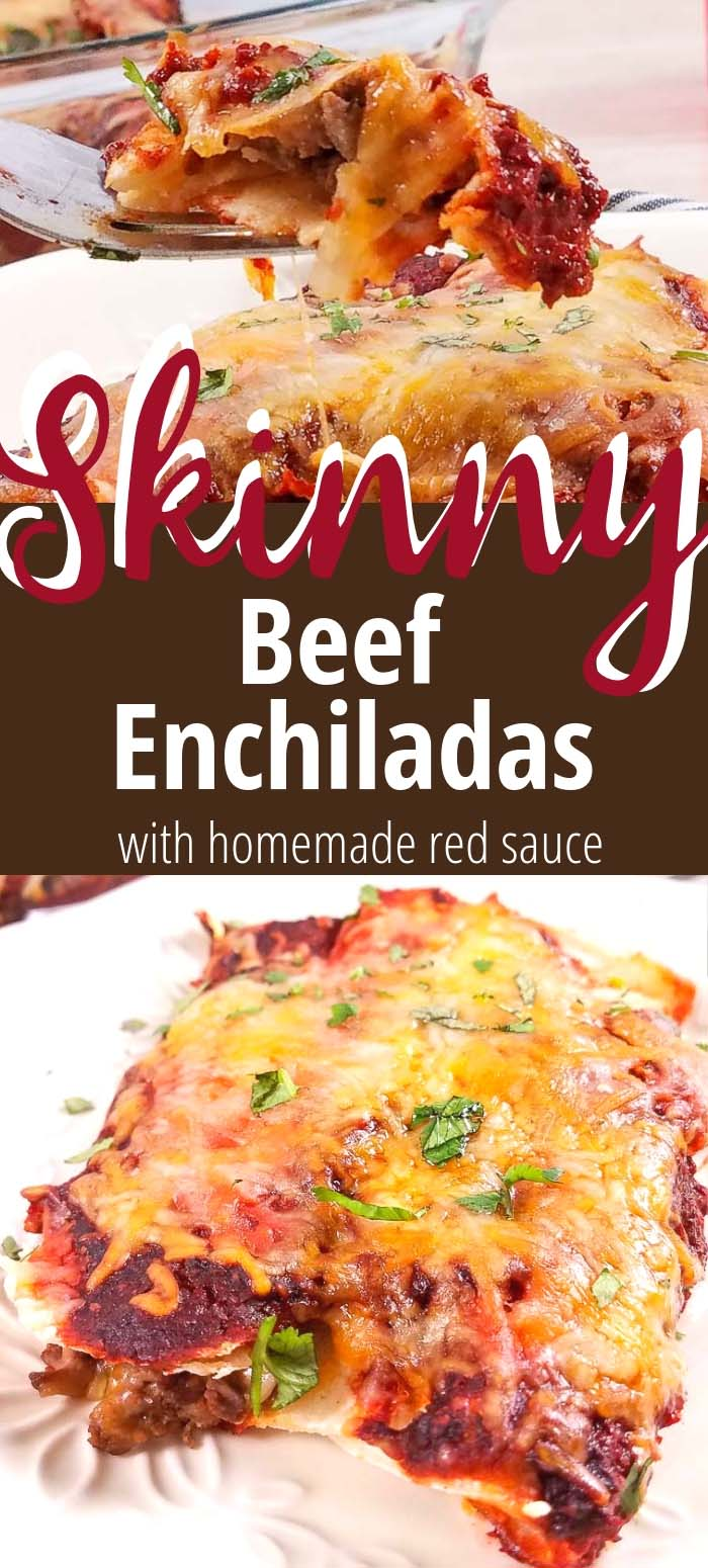 These healthy beef enchiladas use shredded carne asada and a homemade red sauce for a delicious and authentic enchilada recipe. These are skinny beef enchiladas, but nobody will know they're healthy–they're that delicious! Weight Watchers | 21 Day Fix Enchiladas