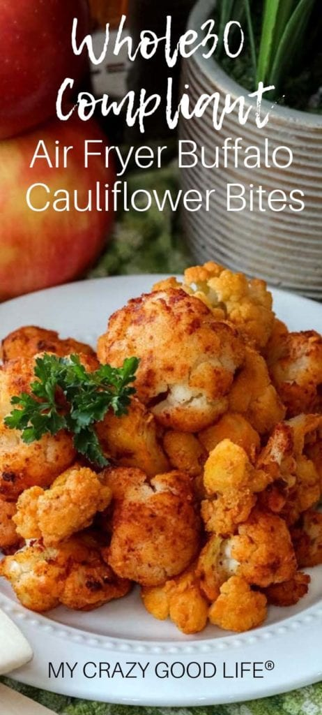 These Whole30 Air Fryer Buffalo Cauliflower Bites are easy to make and so delicious–they can be served as a healthy appetizer or a low carb side dish, but I promise they're not going to last long. I had cauliflower haters LOVING this low carb snack! I make these with frozen cauliflower and hot sauce. #airfryer #whole30 #healthy