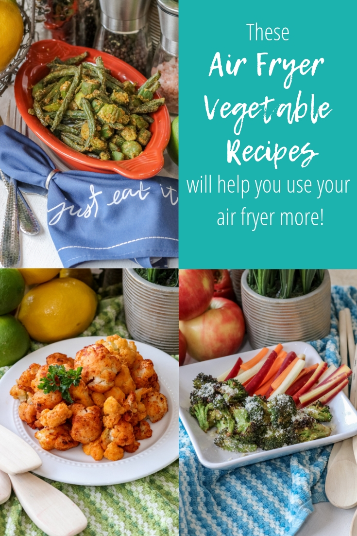 collage of air fryer vegetable recipes with text