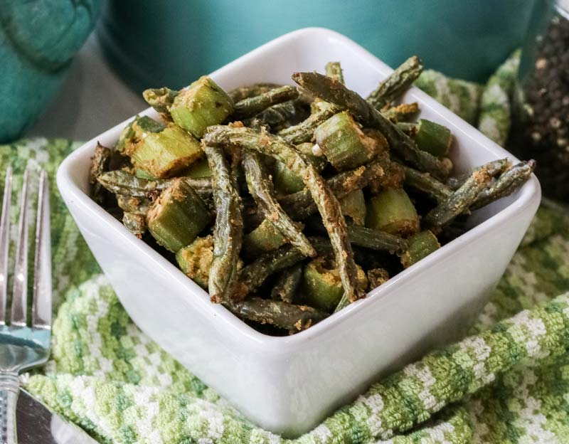 air fried orka and green beans in a white bowl