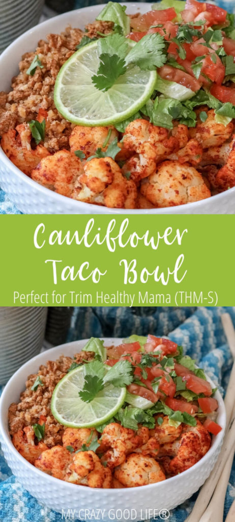 These cauliflower taco bowls are delicious and healthy. They're a perfect Trim Healthy Mama lunch or dinner recipe!