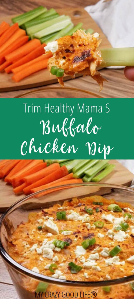 You can have this great recipe on Trim Healthy Mama! It's an S recipe with no substitutions required. This Trim Healthy Mama buffalo chicken dip is easy with the Instant Pot but can also be make with the stove or the oven!