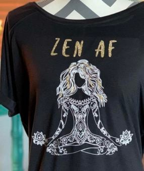 images of black tshirt with yoga girl and saying Zen AF