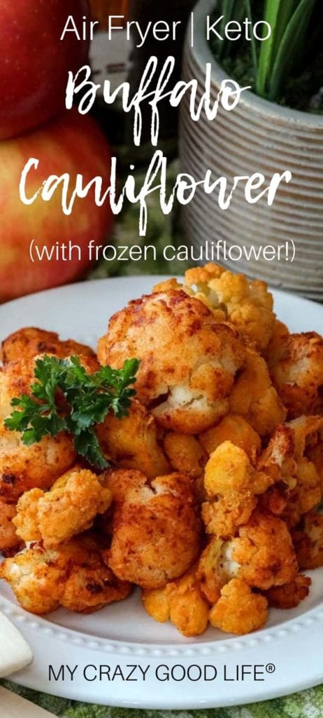 These keto Air Fryer Buffalo Cauliflower Bites are easy to make and so delicious–they can be served as a healthy appetizer or a low carb side dish, but I promise they're not going to last long. I had cauliflower haters LOVING this low carb snack! I make these with frozen cauliflower and hot sauce. #airfryer #keto #healthy