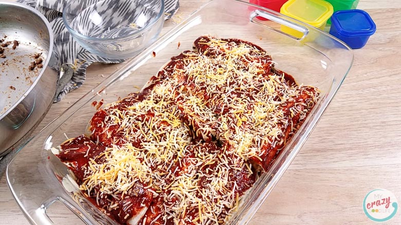 image of finished beef enchiladas ready to go into the oven
