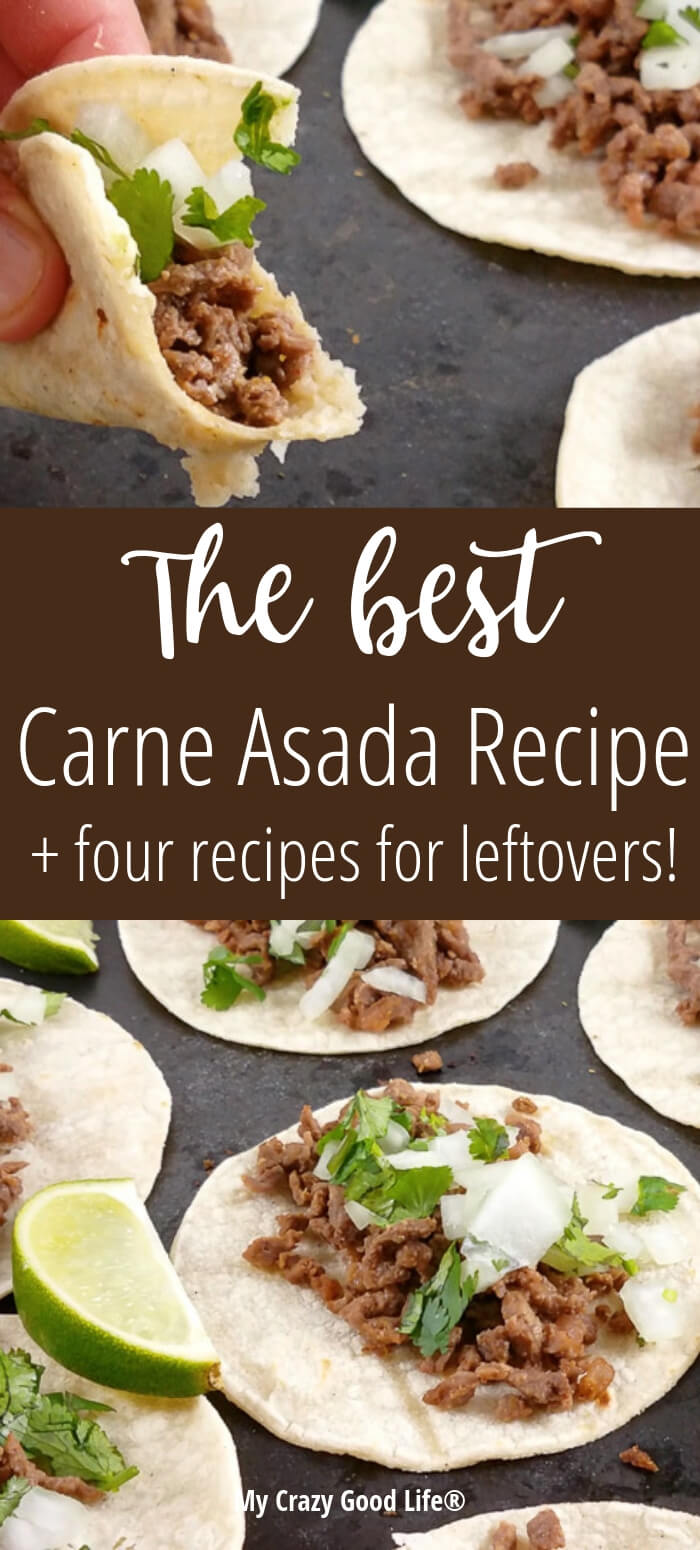 This healthy Carne Asada recipe is so easy and delicious! In addition to this easy Carne Asada marinade recipe, I'm including recipes that you can make with the leftovers–if you have them! Street Tacos, a Burrito Salad Bowl with Homemade Dressing, Enchiladas, and Tostadas!