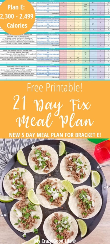 21 Day Fix Meal Plan E | 2,300 - 2,499
