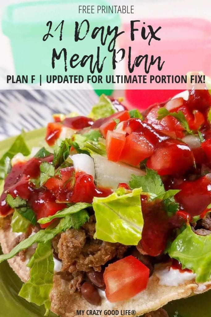 Ultimate Portion Fix Meal Plan F is the highest calorie bracket for the program. This 21 Day Fix meal plan covers the 2,500 - 2,800 calorie range for bracket F. It's an easy to follow, healthy meal plan!