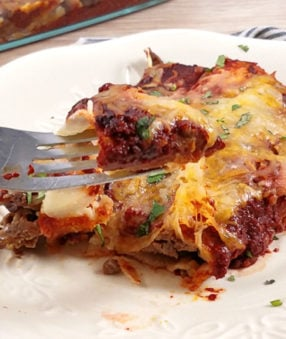 image without text of beef enchiladas on a white plate and on a raised fork