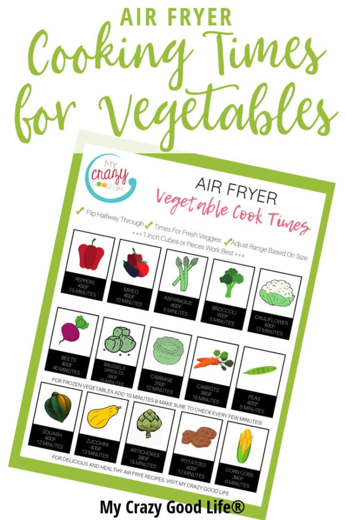 These Air Fryer cooking times will help you make your favorite foods healthier! All of the Air Fryer cook times are included in the printable cheat sheets!