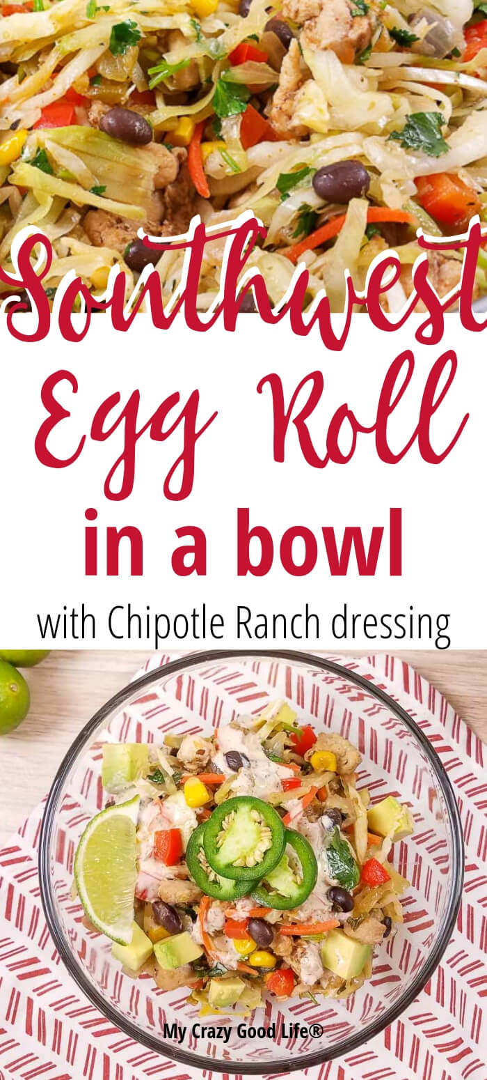 This delicious and healthy Southwest Egg Roll in a Bowl with Chipotle Ranch Dressing is an easy recipe to throw together after a busy day. A family friendly dinner recipe that you can easily make spicy or mild, this is a healthy dinner recipe that you can make on the stove or in the Instant Pot. Weight Watchers Egg Roll Bowl | 21 Day Fix Egg Roll Bowl | Portion Fix Egg Roll Bowl | 2B Mindset Egg Roll Bowl | Healthy Dinner Recipe