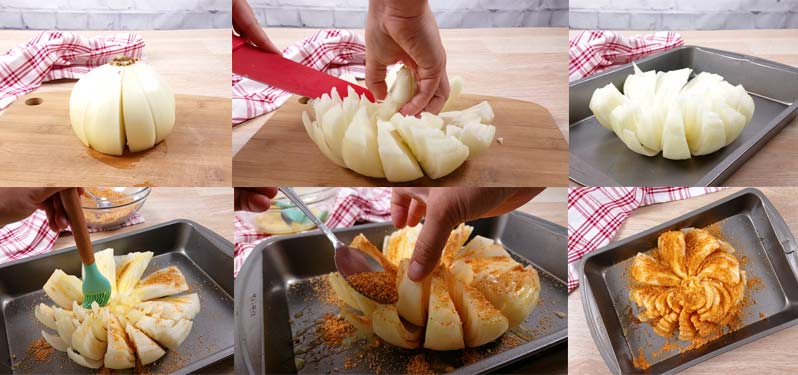 collage of how to make a baked blooming onion