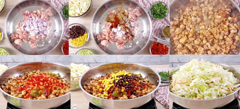collage showing how to make southwest egg rolls in a bowl