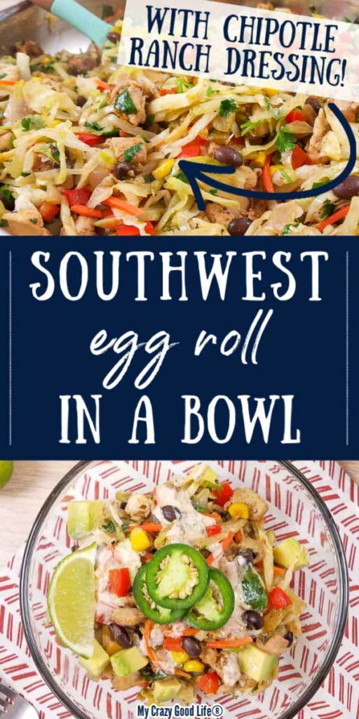 collage with text for southwest egg roll