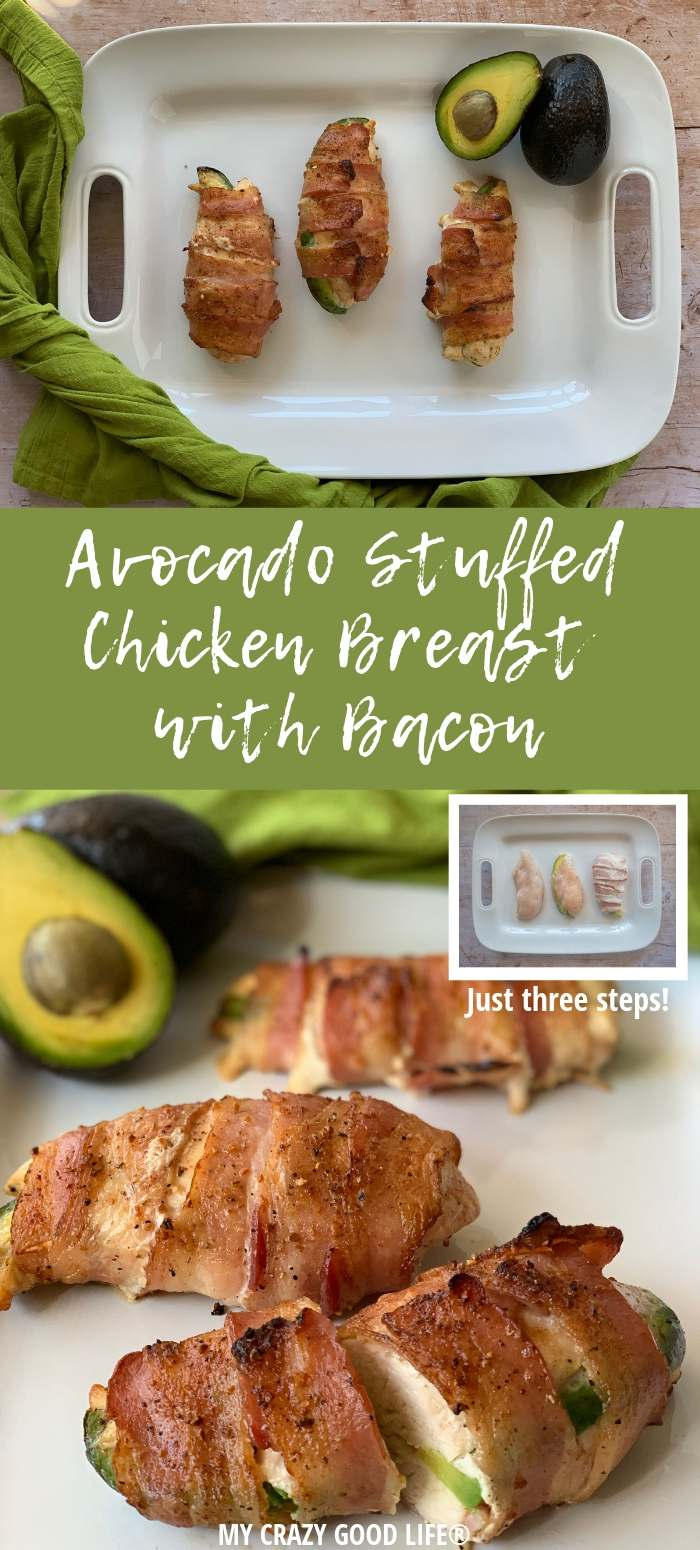 image with text of finished bacon wrapped chicken