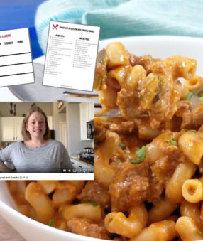 meal prep hamburger helper with image of printables and video