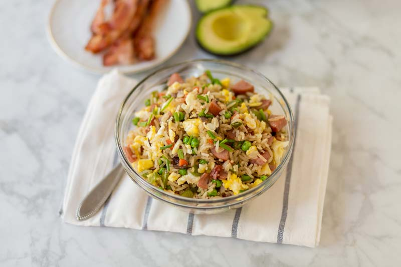 breakfast rice in a clear bowl