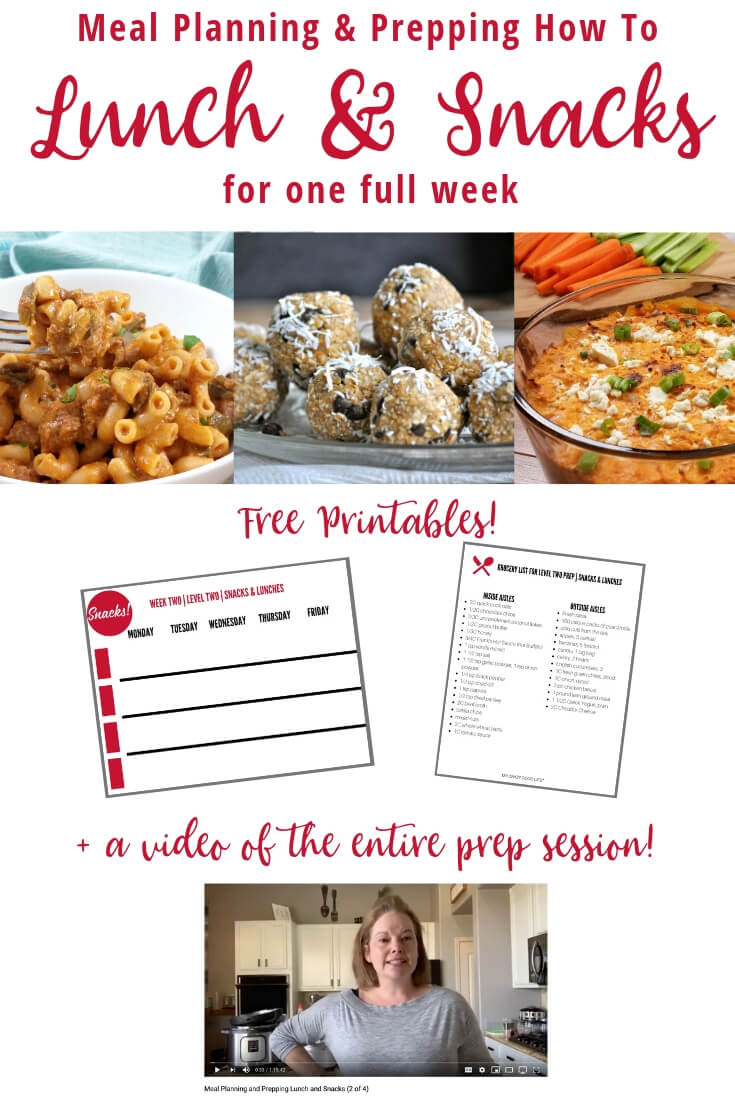 collage image of meals to prep, printables, and screenshot of video