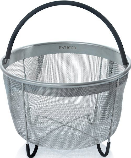 a stainless steel steamer basket.