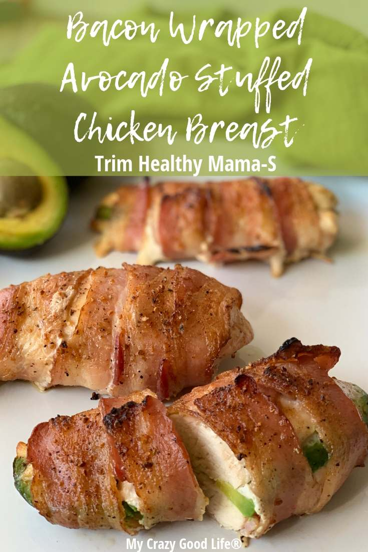 image with text of trim healthy mama bacon wrapped chicken