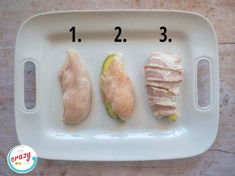 three chicken breasts–one butterfly cut, one stuffed with avocado, one wrapped with bacon