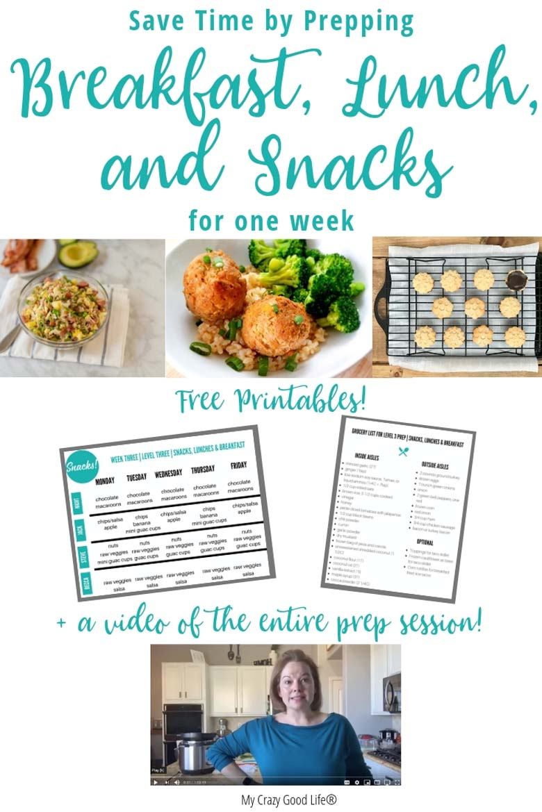 collage image of meals that I made, free printables, and still image of my video