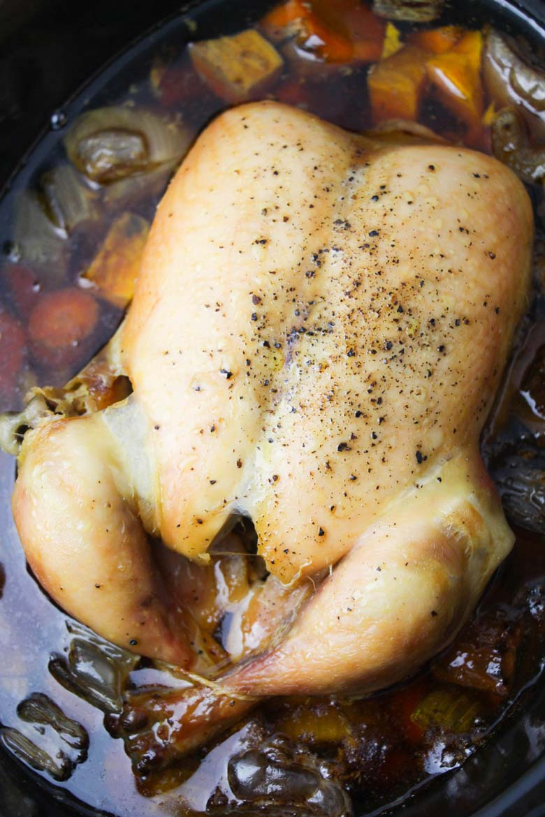 cooked rotisserie chicken in the slow cooker