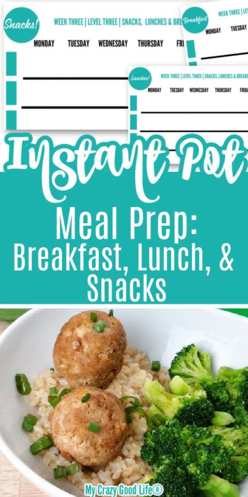 collage image with free printables and pic of teriyaki meatballs