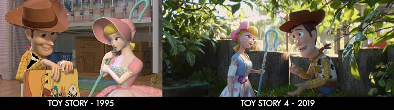 images from original toy story and toy story 4
