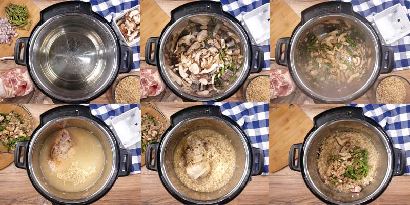 collage of 6 images showing how to make brown rice risotto