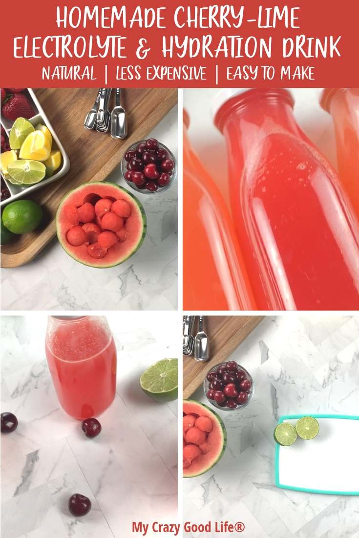 collage image of cherry lime electrolyte drink