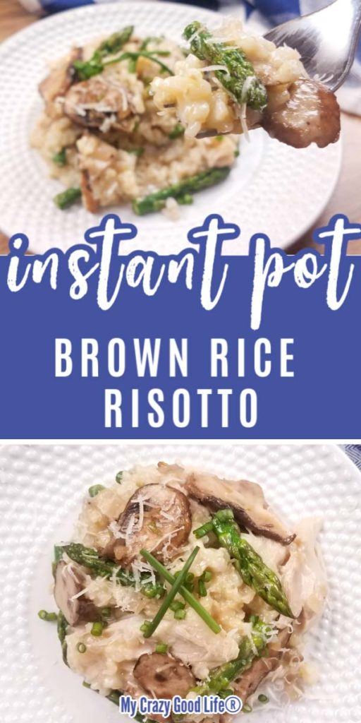 Pinterest image with text for Instant Pot brown rice risotto